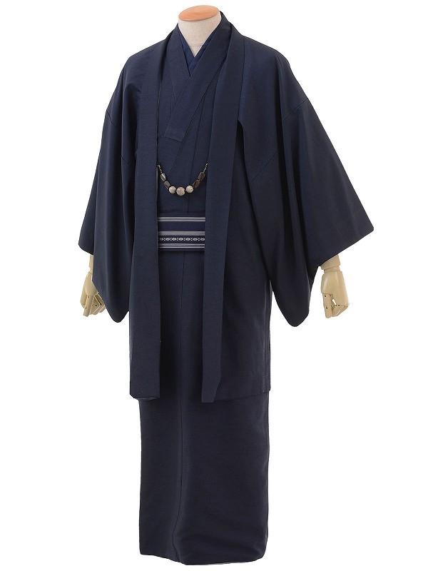 ワンタッチ 男 袷(XS 157-162cm)濃紺