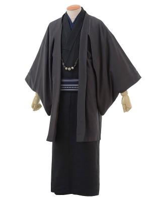 ワンタッチ 男 袷(L 171-176cm)黒