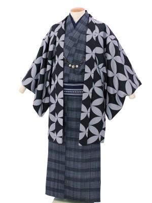 ワンタッチ 男 袷(L 173-178cm)グレー