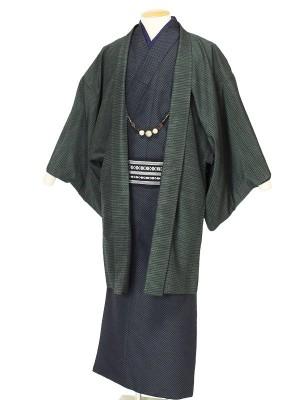 ワンタッチ 男 袷(L 172-177cm)紺