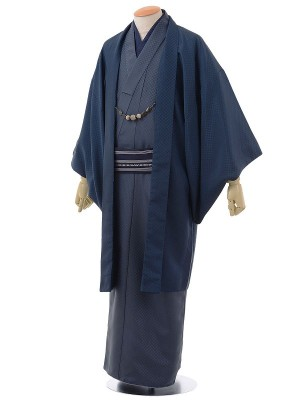 ワンタッチ 男 袷(XL 177-182cm)紺