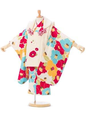 七五三(3歳女被布)オフ白 紅×白椿 刺繍/クリーム カラフル椿