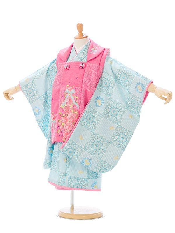 七五三(3歳女)H361ピンク薔薇/水色