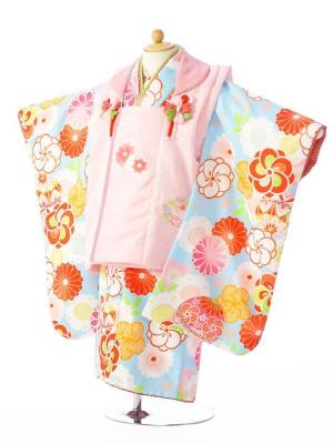七五三(3歳女)H338 式部浪漫 ピンク×水色
