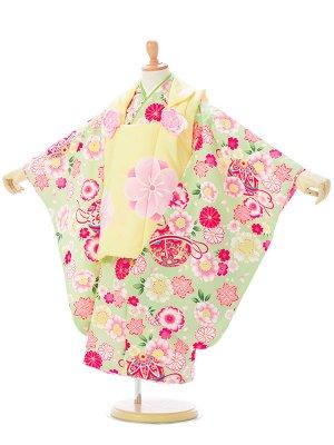 七五三(3歳女)H409 黄色/ミント地 桜菊楓に鞠