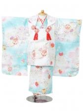 753七五三(3歳女)H239 水色×白地 菊 桜