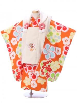 七五三(3歳女)h455 クリーム/オレンジ ねじり梅に小花