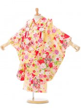 753七五三(3歳女)H193黄色地に白ぼかし 桜