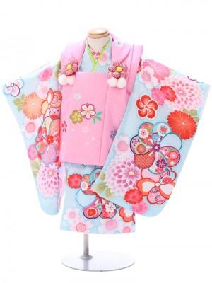 七五三(2歳女)h482 2歳~小さめ3歳さんにおすすめ ピンク/水色
