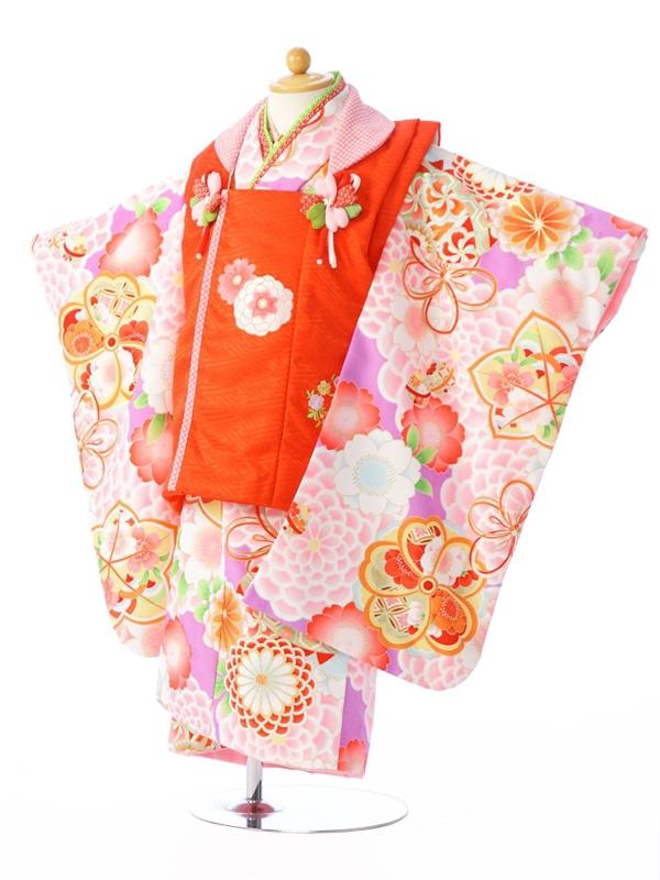 七五三(3歳女)H345 式部浪漫 赤×紫