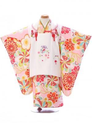 七五三(3歳女)EH370 式部浪漫 白/ピンク ねじり梅 菊