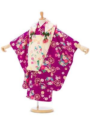 七五三(3歳女)h400 クリーム/紫 花の丸