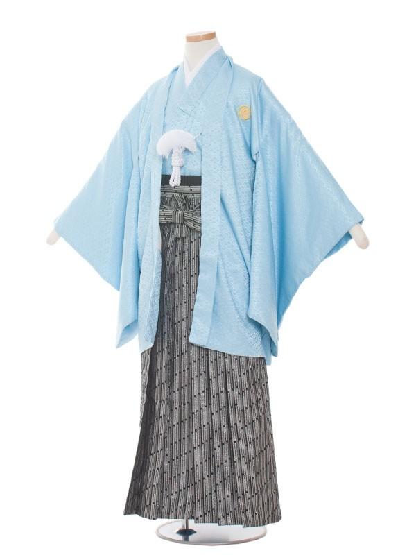小学生卒業式袴レンタル(男の子)1006 水色×金の袴