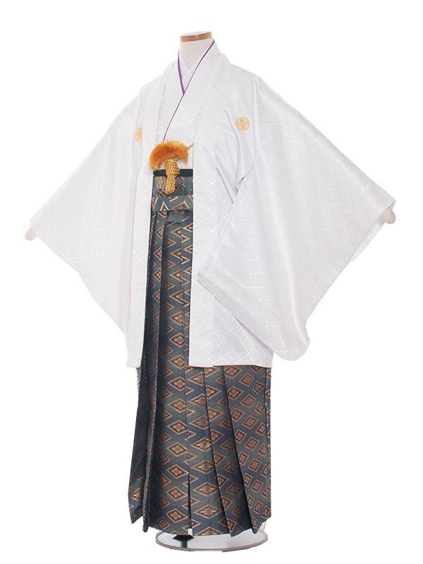小学生卒業式袴男児1307 白/青紋袴