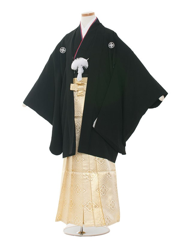 小学生卒業式袴レンタル(男の子)1331 黒/金袴