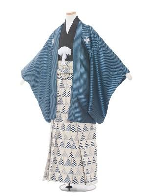 小学校 卒業式 男の子 袴1541青×黒ストライプ/デザイン袴