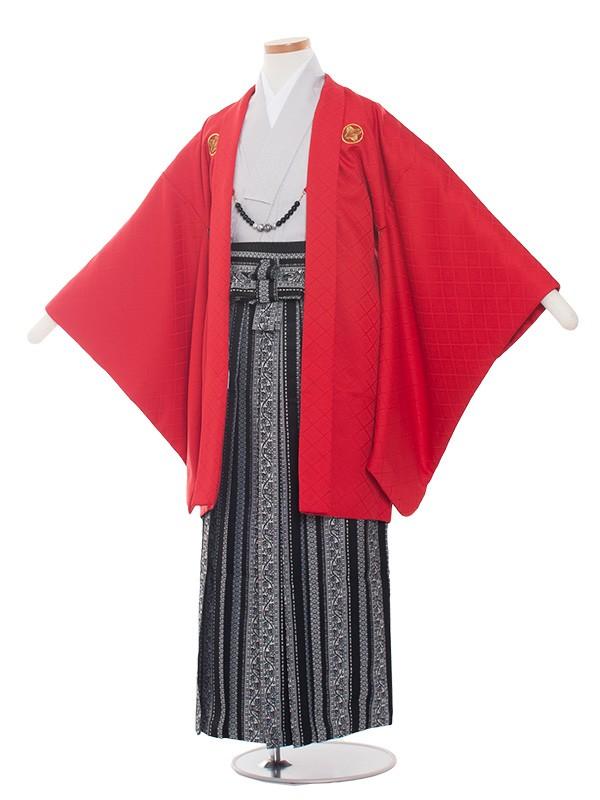 小学生卒業式袴レンタル(男の子)1369 赤/グレー 袴85cm