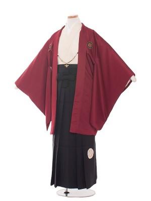 小学生卒業式袴レンタル(男の子)1427 深赤/黒袴