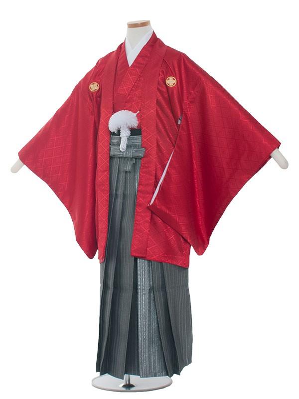 小学生卒業式袴男児1301 赤×グレー