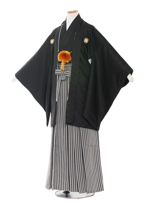 小学生卒業式袴男児1401 黒×黒白