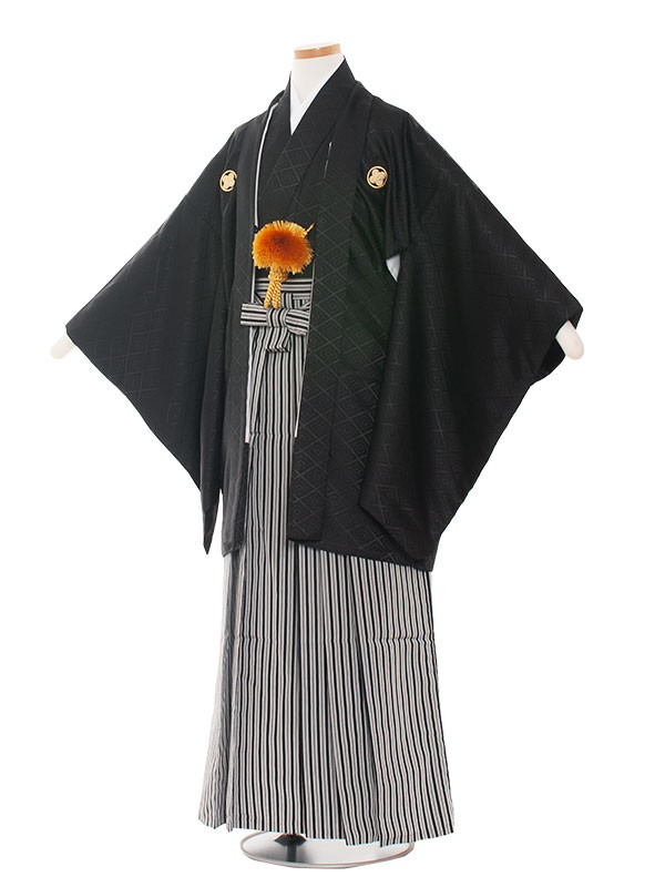 小学生卒業式袴レンタル(男の子)1401 黒×黒白