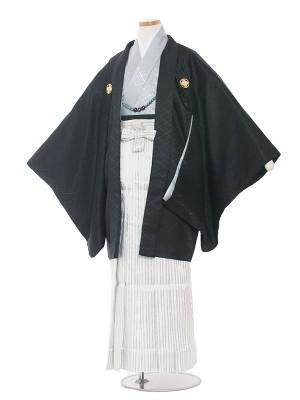 小学校 卒業式 男の子 袴1338 黒×アイスグレー/袴