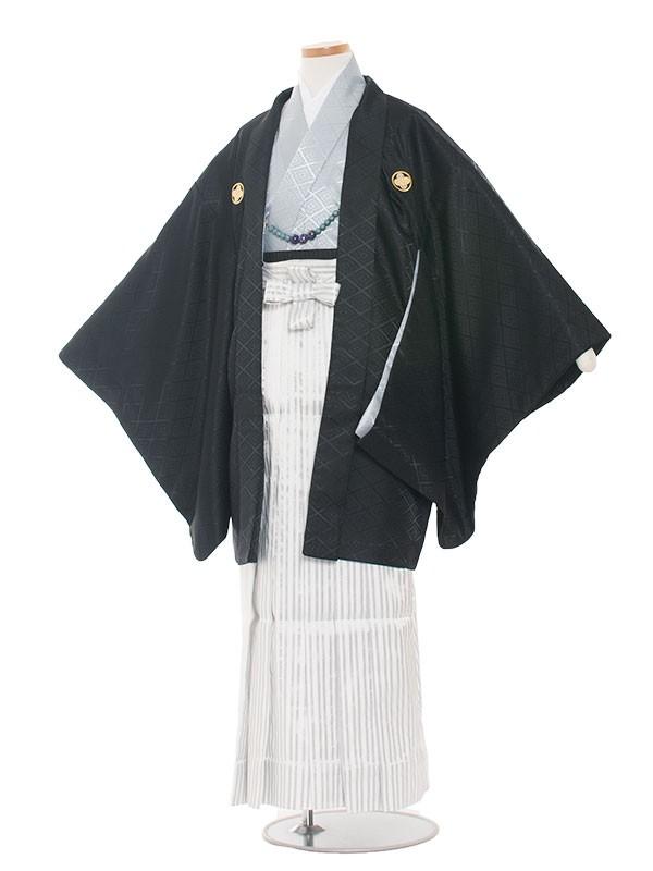 小学生卒業式袴レンタル(男の子)1338 黒×アイスグレー/袴