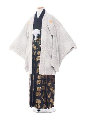 小学生卒業式袴レンタル(男の子)1534グレー/大輪菊