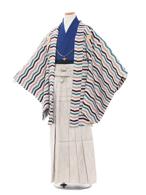 小学生卒業式袴レンタル(男の子)1422 シェブロン・ストライプ