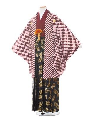 小学生卒業式袴レンタル(男の子)1553深赤/市松模様