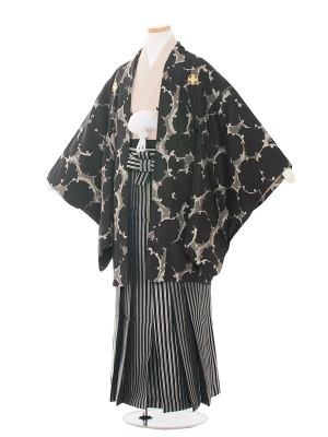 小学生卒業式袴レンタル(男の子)1528 黒/丸模様