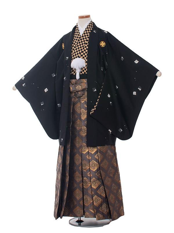 小学生卒業式袴レンタル(男の子)1318 黒格子/袴