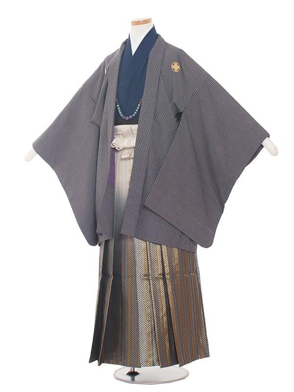 小学生卒業式袴男児1383 ストライプ/紺