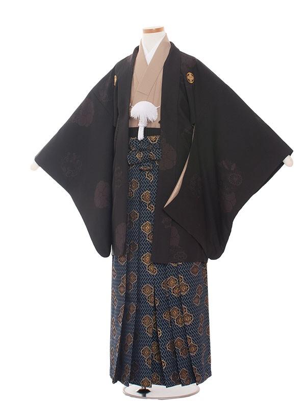 小学生卒業式袴レンタル(男の子)1352 黒/雪和袴