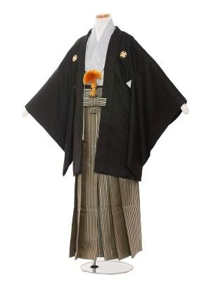 小学生卒業式袴レンタル(男の子)1404-5 黒/グレー