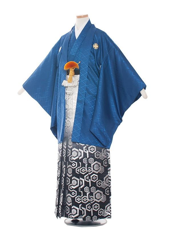 小学生卒業式袴レンタル(男の子)1525紺×金丸袴