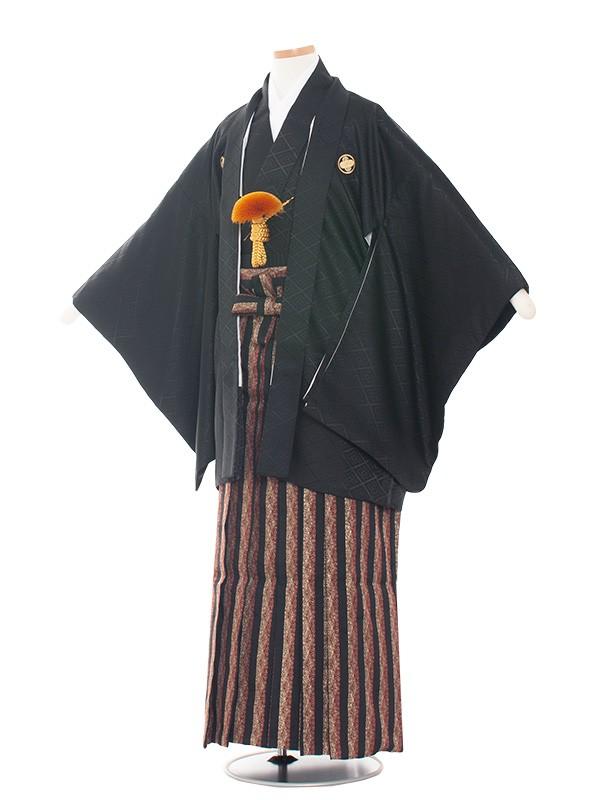 小学生卒業式袴男児1508-2 黒/黒おしゃれ袴