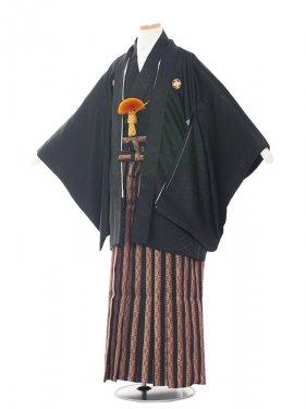 ジュニア(13男)1508-2 黒/黒おしゃれ袴
