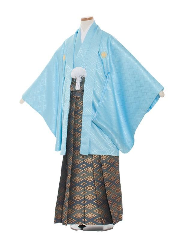 小学生卒業式袴レンタル(男の子)1309 水色/青紋の袴