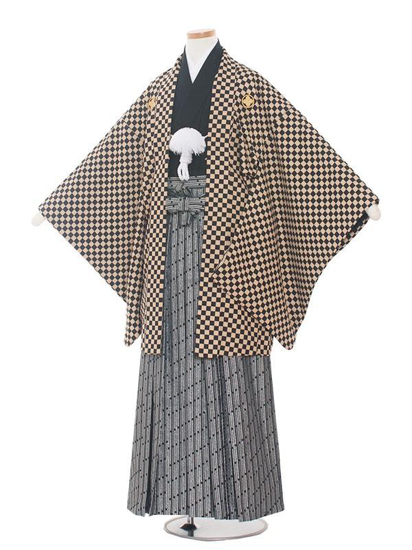 小学生卒業式袴男児1351 茶黒格子/袴