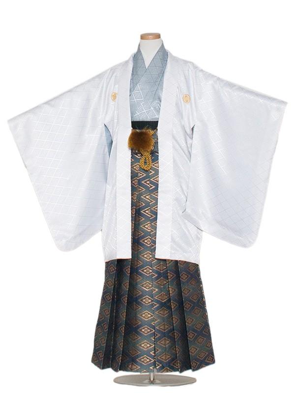 小学生卒業式袴男児1345 白/グレー袴