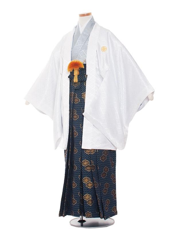 小学生卒業式袴レンタル(男の子)1337 白×アイスグレー/袴