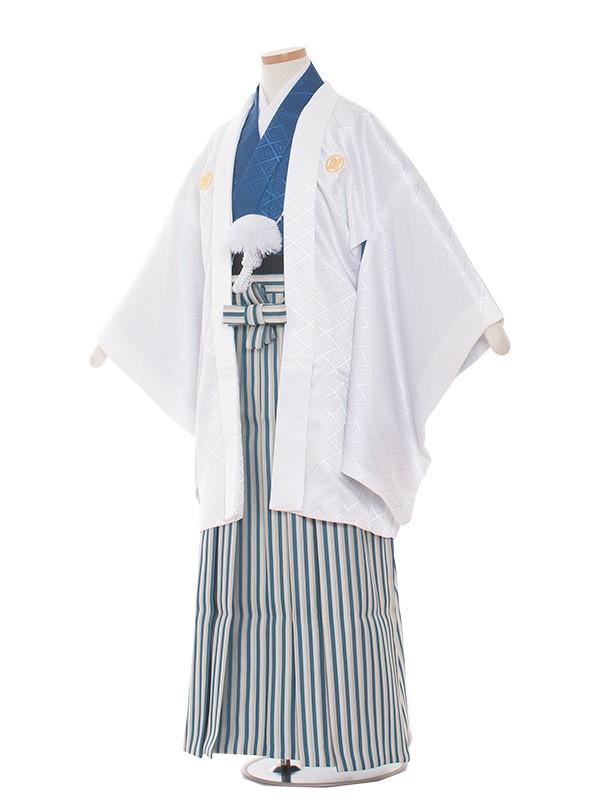 小学生卒業式袴レンタル(男の子)1377-5 白/紺