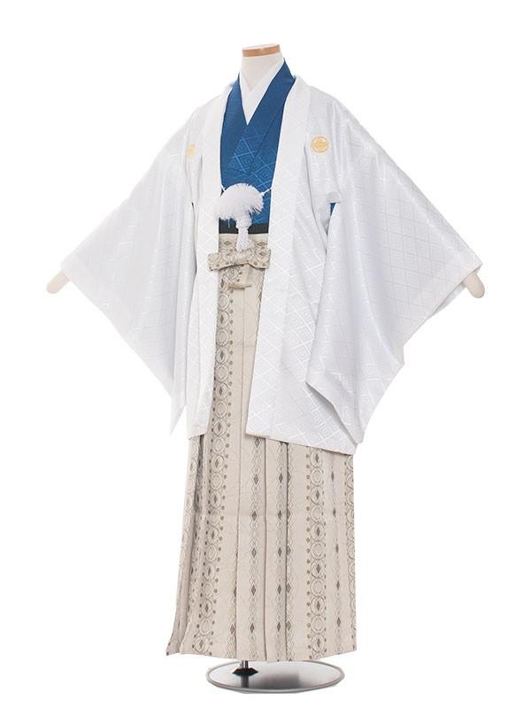 小学生卒業式袴レンタル(男の子)1516白紺×おしゃれ袴