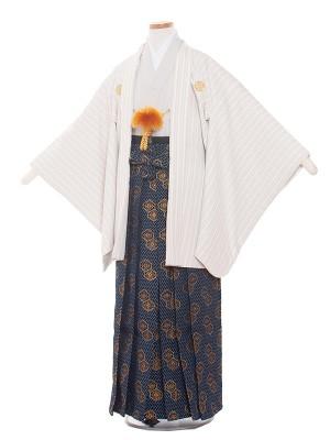 小学生卒業式袴レンタル(男の子)1365 グレーストライプ袴83cm