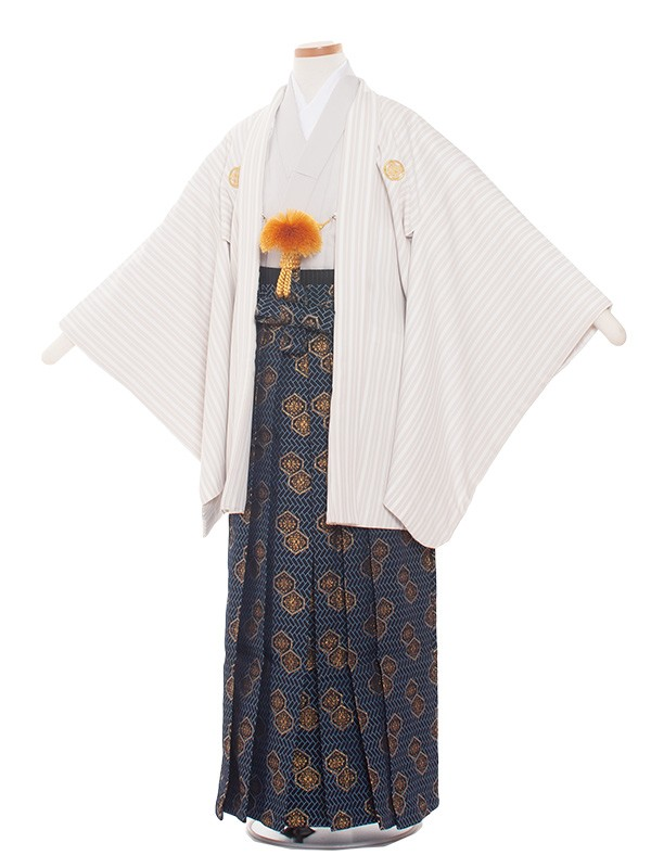 小学生卒業式袴レンタル(男の子)1365 グレーストライプ-2袴83cm
