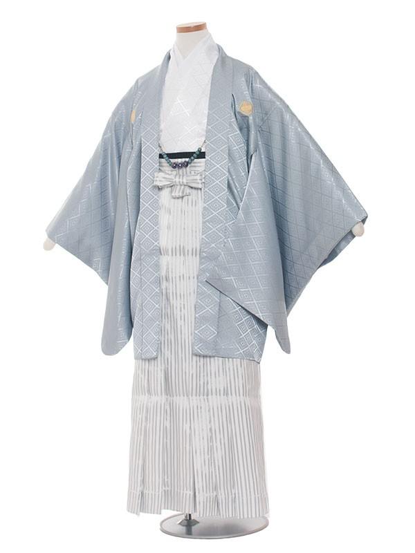 小学生卒業式袴男児1336 アイスグレー×白/袴