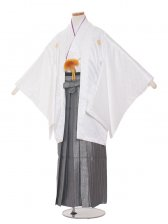 ジュニア(13男)jr1308 白・紫/グレーの袴