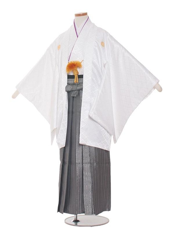 小学生卒業式袴男児1308 白・紫/グレーの袴80