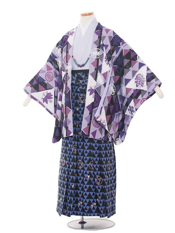 小学生卒業式袴男児1333 紫/吉祥文様袴